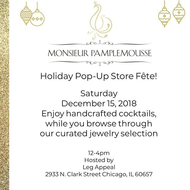 Tights, Fine Jewelry, Cute Bites, & Cocktails. Stop in tomorrow for some last minute stocking stuffers:) #shoplegappeal #stockingstuffers #monsieurpamplemousse