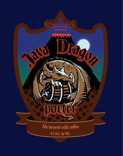 Java Dragon Coffee Porter - Dark roasted flavors and slight chocolate malts dominate the flavor while a hint of smooth cold brewed coffee rounds out the taste. East Kent Golding Hops lend a refined flavor to the finish of the beer.