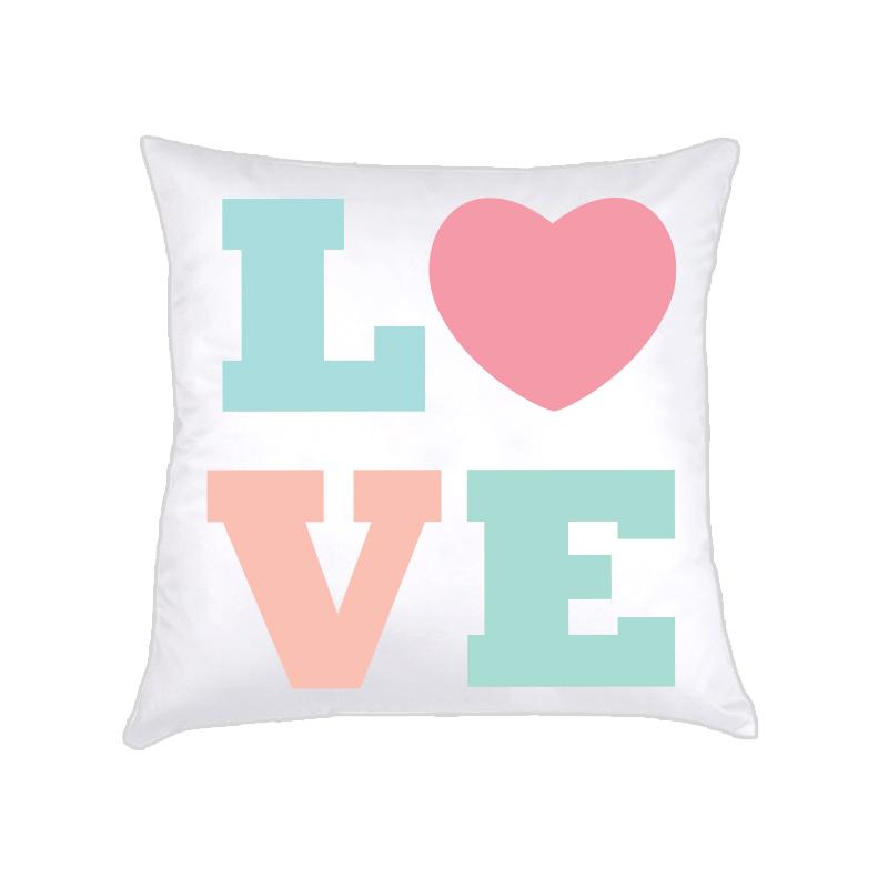ALMOFADA LOVE (capa + recheio)   candy colors . rosa   50x50cm   R$169,00  COD: KIDS_RS_0109   CApas podem ser vendidas separadamente - valor R$149,00