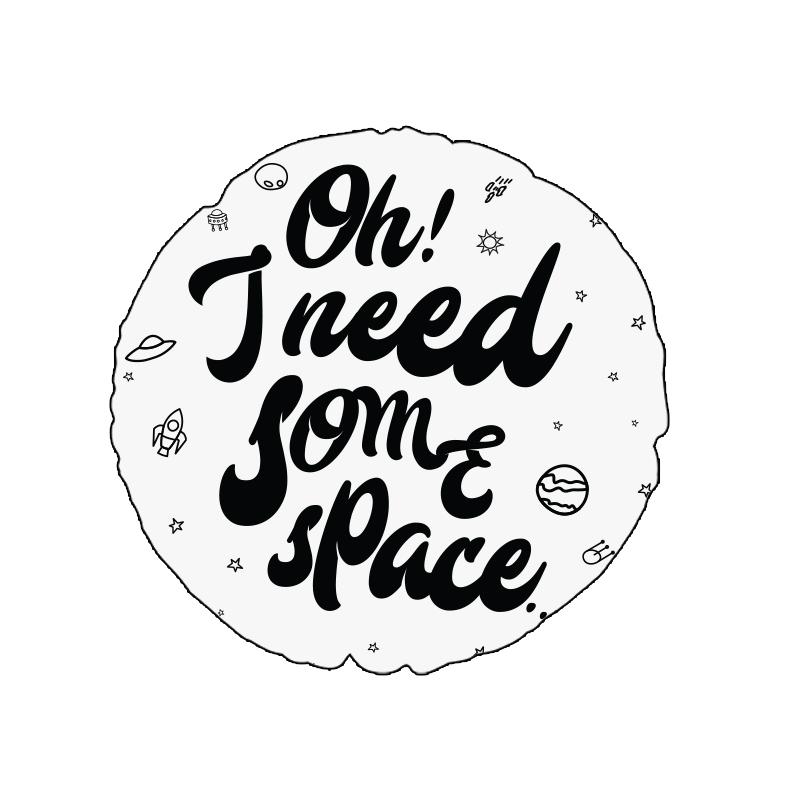 ALMOFADAS I NEED SOME SPACE (CAPA + RECHEIO) | PRETO E BRANCO | 42 x 42CM | R$109,00  COD: KIDS_PB_0160   CAPAS não PODEM SER VENDIDAS SEPARADAMENTE.
