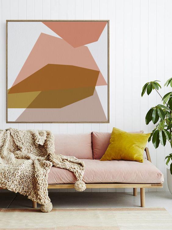 TELA SÉRIE TRAÇOS - paleta pastel - TAMANHO 113 X 113CM | MOLDURA BAGUETE COR FREIJÓ