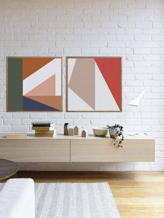 TELA SÉRIE TRAÇOS - duo na paleta quente - TAMANHO 74 x 74cm cada | MOLDURA BAGUETE COR FREIJÓ