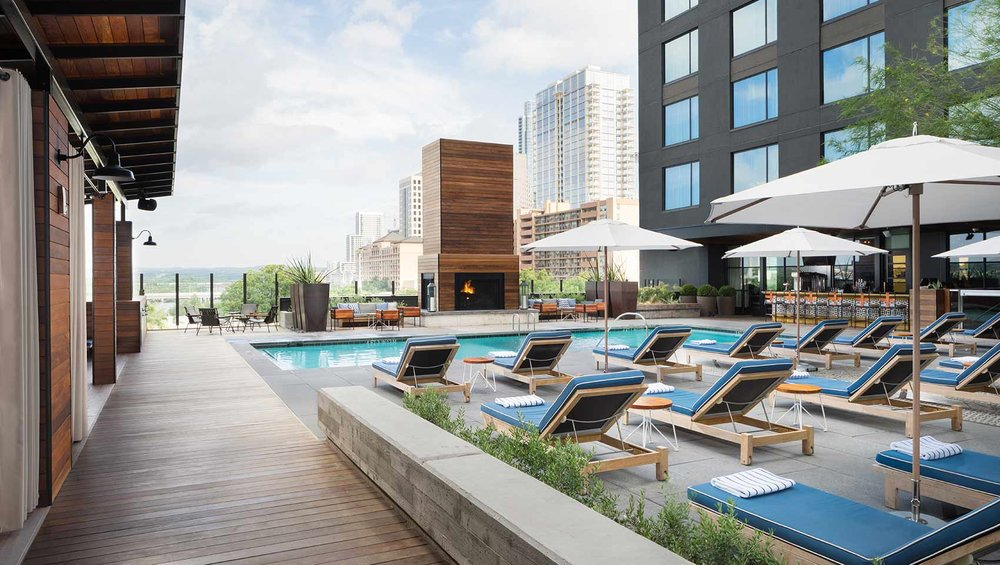 Hotel Van Zandt rooftop pool, Austin, Texas