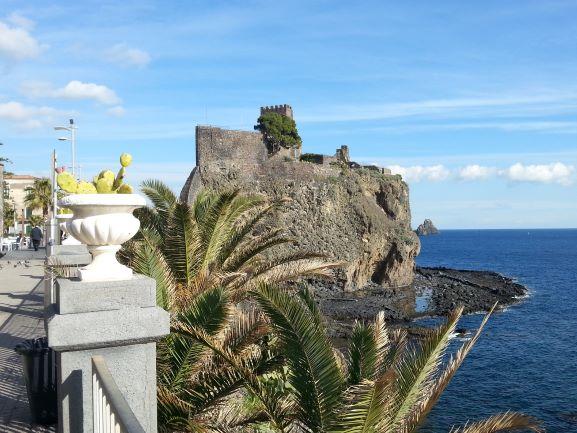 Norman castle on the rock above Aci Castello, Catania, Sicily