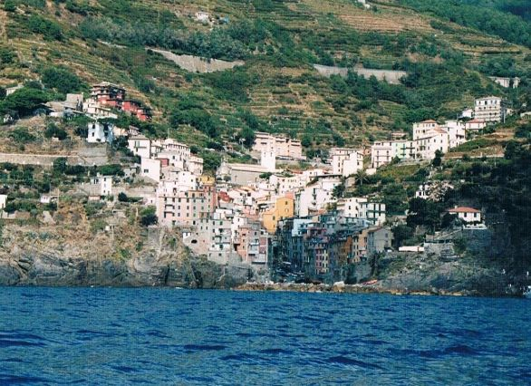 View of Riomaggiore from the ferry.