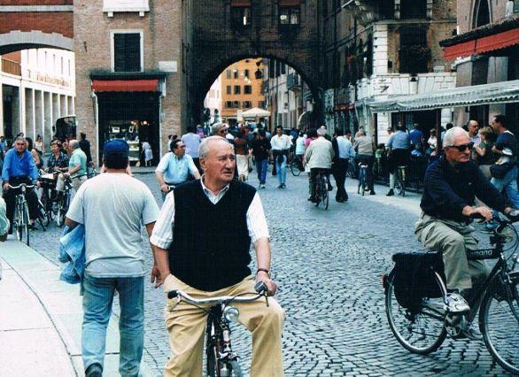 People in Ferrara on their bikes for the passeggiata.