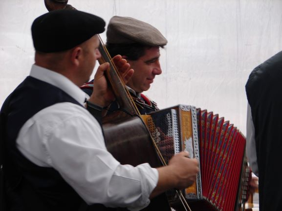 A band entertains the crowd at the Truffle Festival in Buzet, Croatia