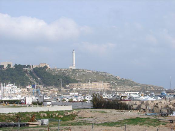 The lighthouse high above Santa Maria di Leuce, Puglia, Italy