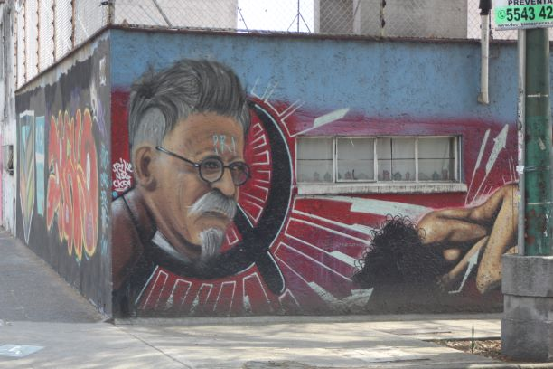 Street mural featuring Leon Trotsky around the corner from the revolutionary's former house.
