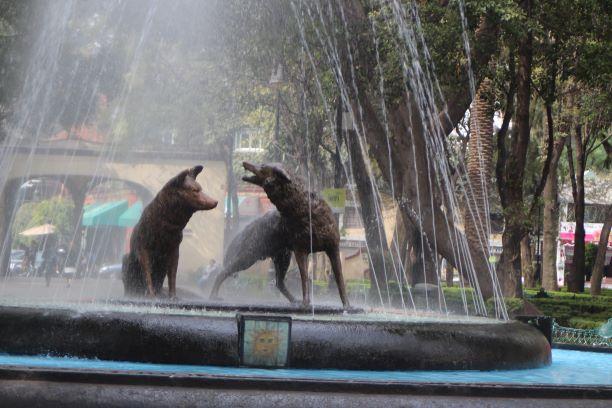 Jardín Centenario's famous Coyote Fountain, Mexico City, Mexico