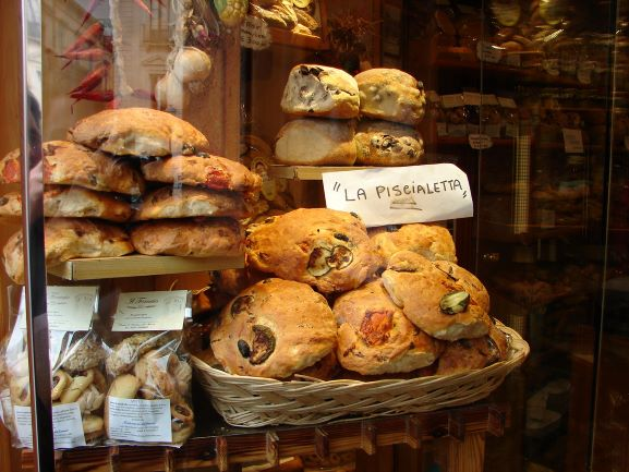 La Piscialetta for sale at a bakery in Puglia, Italy