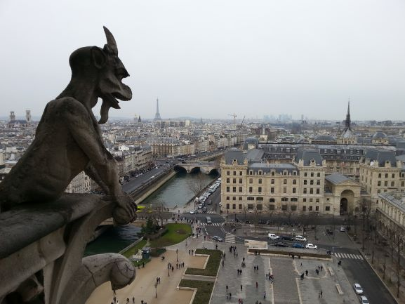 View of Paris from atop Notre Dame