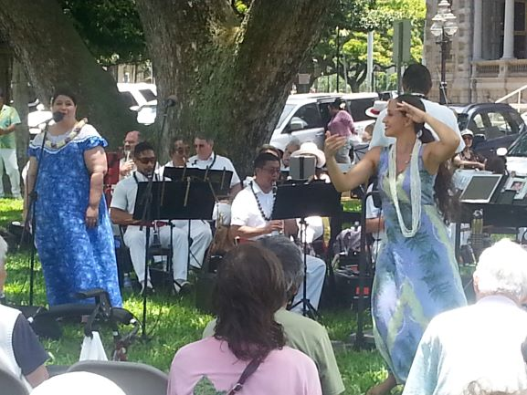Royal Hawaiian Band performing on the grounds of the Iolani Palace
