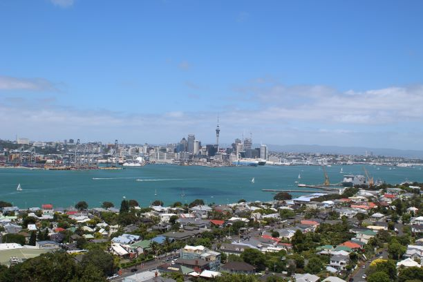 View of Auckland and the harbour from Mount Victoria in Devonport