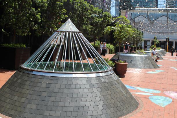 Sculptures outside the Britomart Pavilion in Auckland