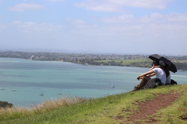 Folks enjoying the view from Mount Victoria in Devonport