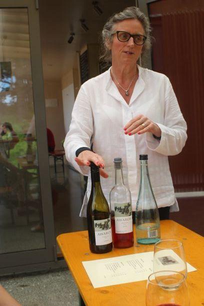 Sampling the goods at Awaroa Winery, Waiheke Island
