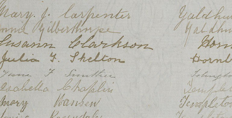 Some signatures on the Suffrage petition on display at the National Library, Wellington