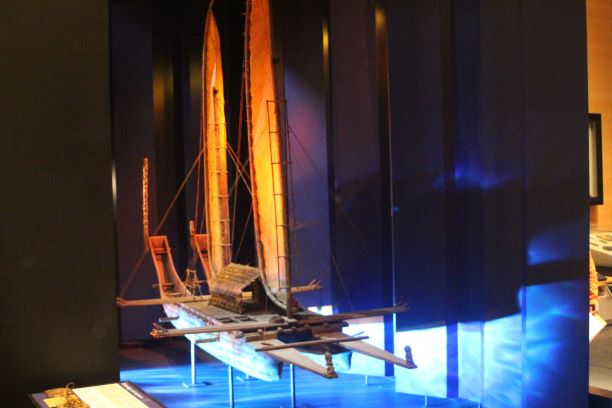 Model of a Maori sailing ship at Te Papa museum in Wellington