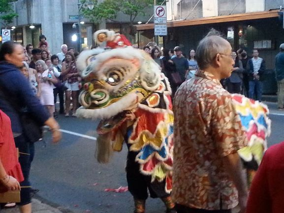 Lion at the Chinese New Year celebration, Honolulu