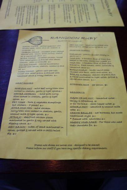 Rangoon Ruby menu, Christchurch, New Zealand