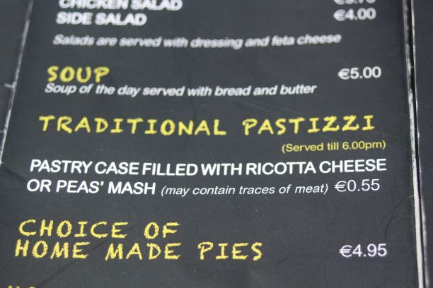 Pastizzi for only €0.55 at Fontanella's in Mdina, Malta