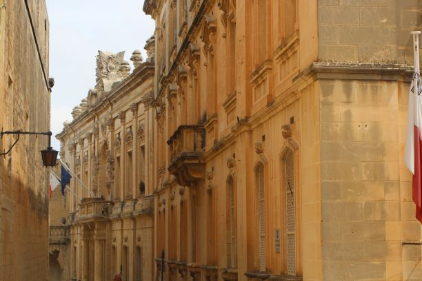 Curved street in Mdina, Malta