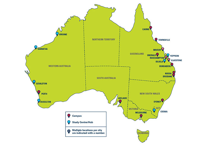 CQUniversity has a physical presence in 24 locations across Australia.