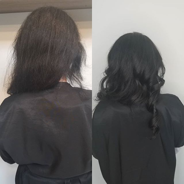 Growing out your hair with a shaved side can be a huge pain! Instead of cutting your hair off,why not do a partial extension to help with the transition process. I used @bohyme luxe Remy extensions.She can straighten or scrunch her natural curls with ease. We converted from i-tip to beaded rows and we are loving how easy it is to style. The extensions tangle less and she can wear a high pony! 😍😍😍