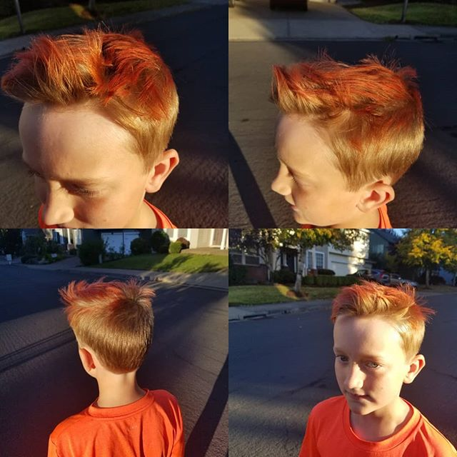 My lil man loves red hair!! This time I balayaged some red tips. Getting us ready for our Disneyland trip next week!!