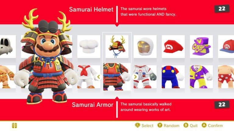 Cosmetic system in  Super Mario Odyssey