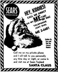 The ad that misprinted Sears phone number and led to NORAD's Santa Tracker (public domain).
