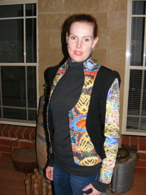 Nikki Atkinson wearing one of her stunning creations