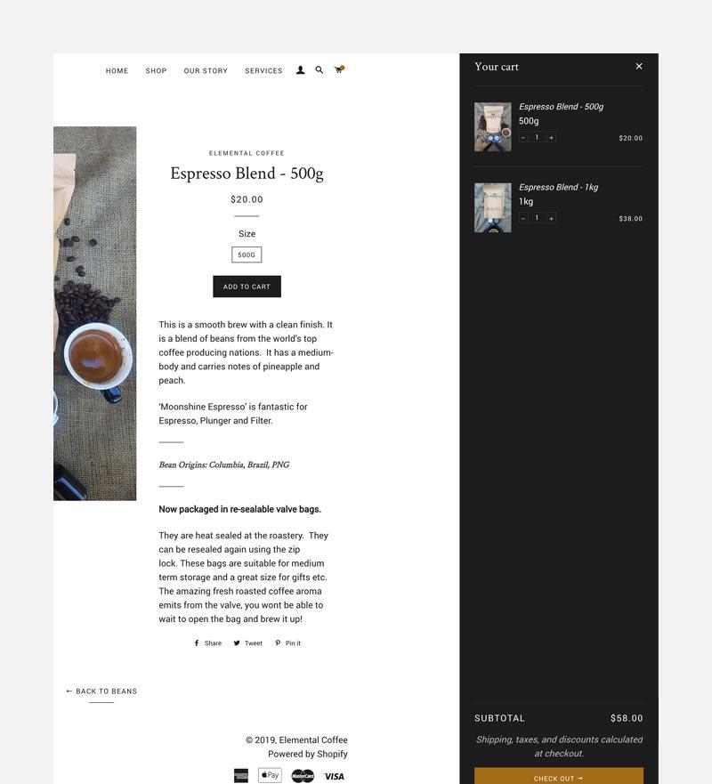 Elemental-coffee-cart page
