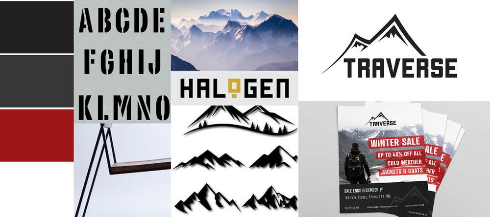 Bold monochromatic mood board with chunky fonts and colour theme