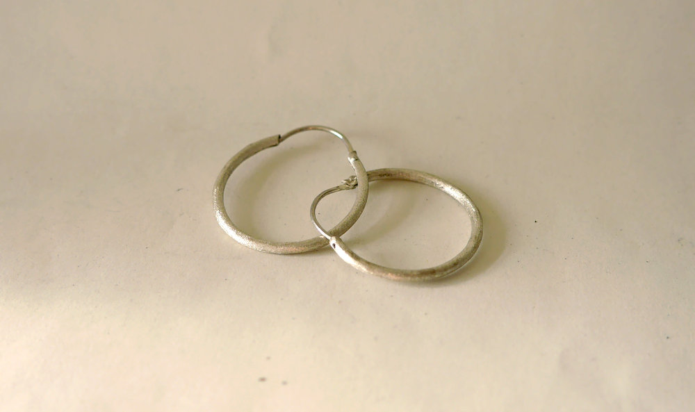 Satin Hoops - Php 700Sterling silverHand-crafted individually using 92.5 silver by our local craftsmen.