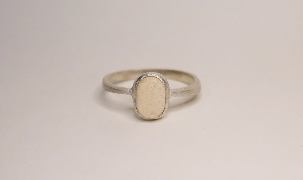 Louisa Ring(Sand) - Available at Loop. Store & Manila ArtpostSterling silver ring with bezeled stoneware.Comes in sizes 4.5, 5, 6 & 7