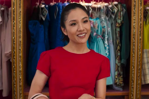 Rachel Chu (Constance Wu) wears a 'lucky red dress' to meet her boyfriend's family in 'Crazy Rich Asians'.