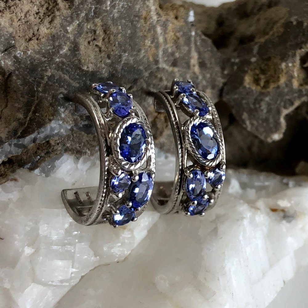 5a59431f3 Sterling Silver and Man-made Tanzanite Earrings — Renaissance Jewelers