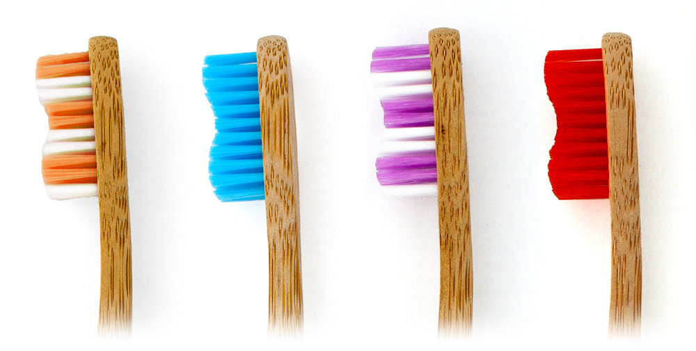 Nylon bristled bamboo toothbrush