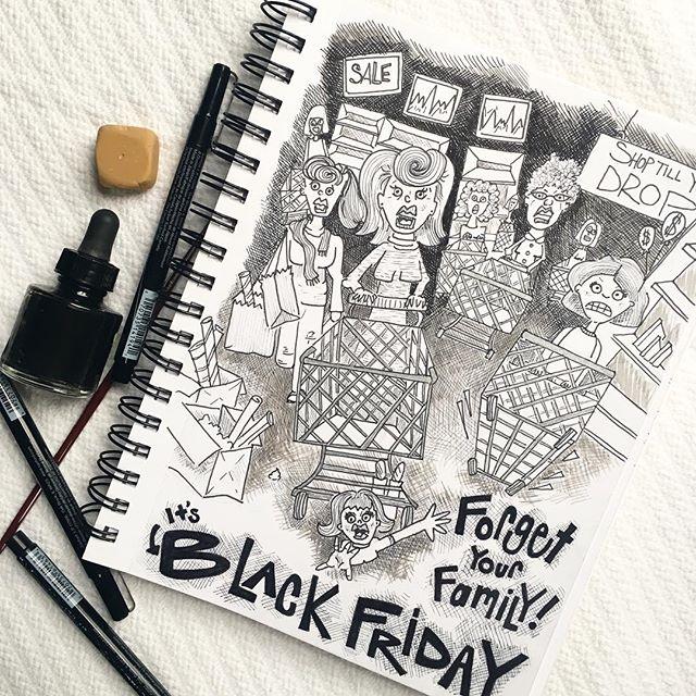 Shop till you drop! #blackfriday . . . . . . . #butfirstcoffee #shoppingspree #shoptillyoudrop #sale #penandink #illustration #cartoon #sharpie @sharpie @prismacolor #indiaink #chicagoartist #itstheholidayseason