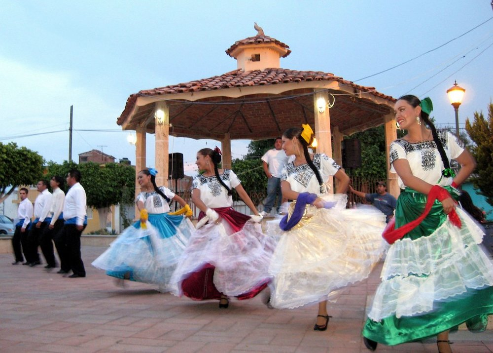Festivities and dancers in the plaza of Ajijic