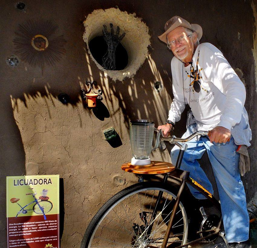 Author John Pint pedals to provide power to run the blender for salsa.