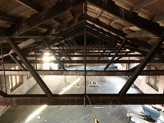 My job takes me inside some interesting spaces. #attic #trusses #woodframing #historicpreservation #whatanarchitectdoes