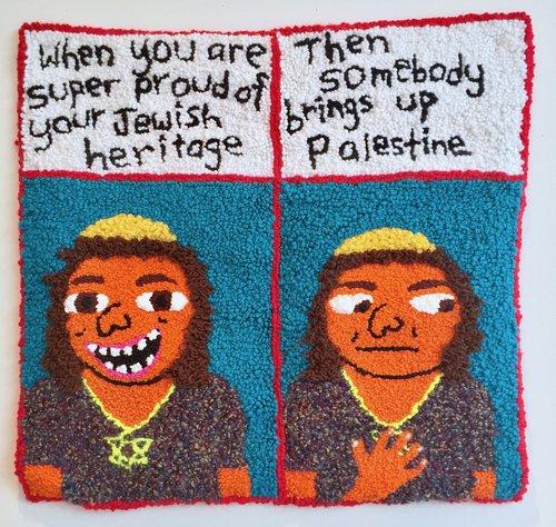 "TFW Jewish   Wool, Acrylic, Polyester, Burlap  27.5"" X 29""  2017"