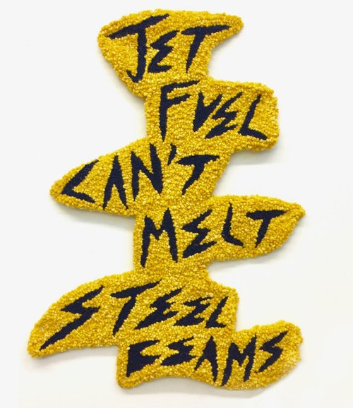 "Jet Fuel Can't Melt Steel Beams   Wool, Acrylic, Burlap  26"" X 18""  2017"