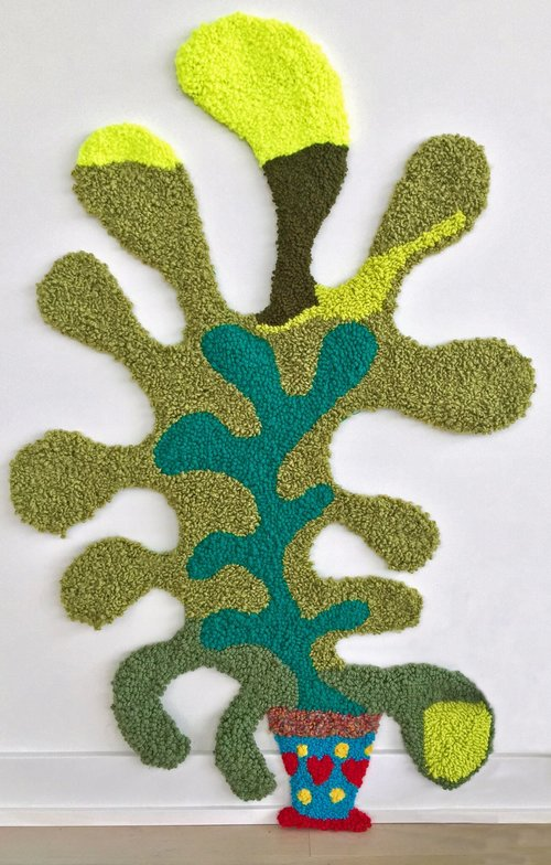 "House Plant   Wool, Acrylic, Polyester, Burlap  44"" X 27.5""  2017"