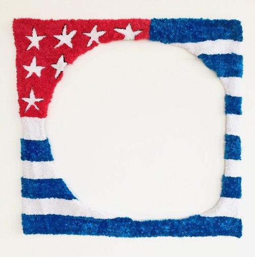 "American Flag   Acrylic, Polyester, Burlap  41.5"" X 42""  2016"