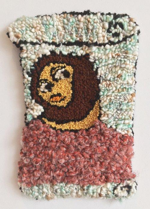 "Ecce Homo   Wool, Acrylic, Burlap  10"" X 7""  2016"