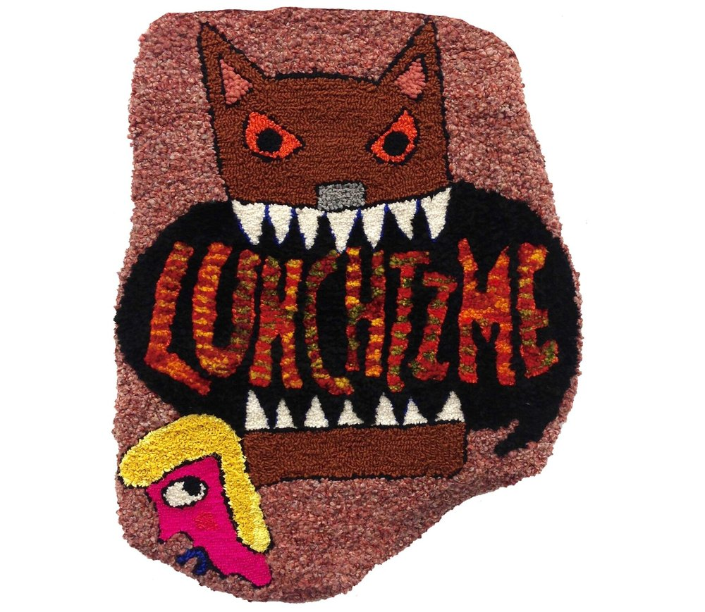 """Lunchtime!  Wool, acrylic, polyester, burlap  37"""" X 29.5""""  2016"""
